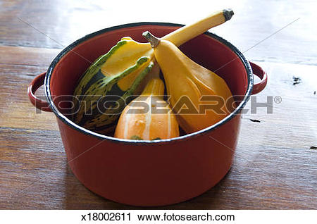 Stock Photography of Gourds in metal bowl x18002611.