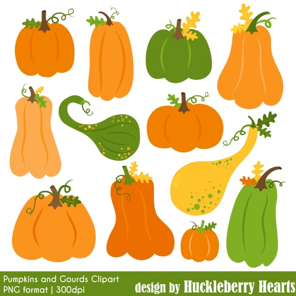 Pumpkin and Gourds Clipart.