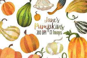 Watercolor pumpkin clipart Photos, Graphics, Fonts, Themes.
