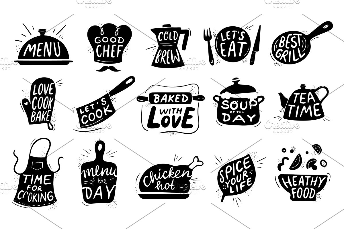 Kitchen food lettering. Gourmet.