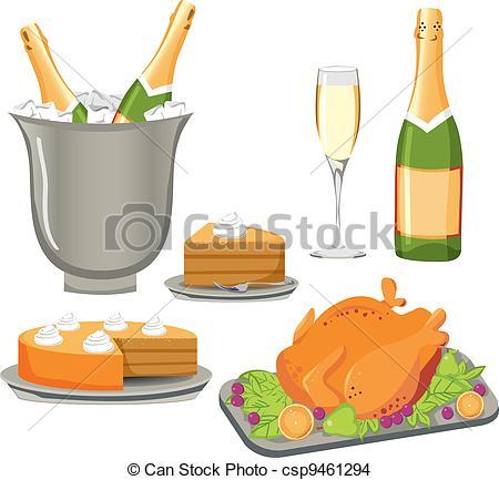 EPS Vector of Celebration Meal Set.