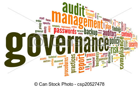 Stock Illustrations of Governance and compliance in word tag cloud.
