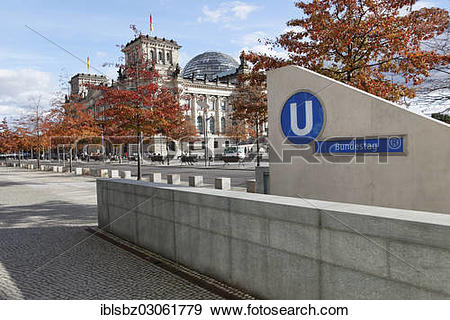 "Stock Photograph of ""Bundestag"""""""" underground station Bundestag."