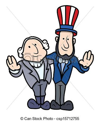 Clipart Vector of Presidents Day Cartoon Characters.