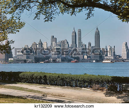 Stock Photograph of 1950S Skyline Of Downtown Manhattan From.