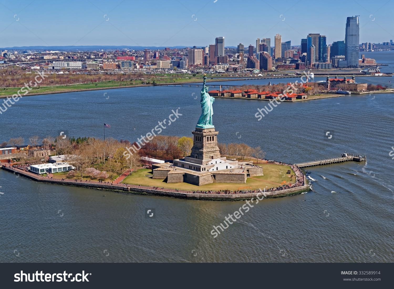 Aerial View Statue Liberty New York Stock Photo 332589914.