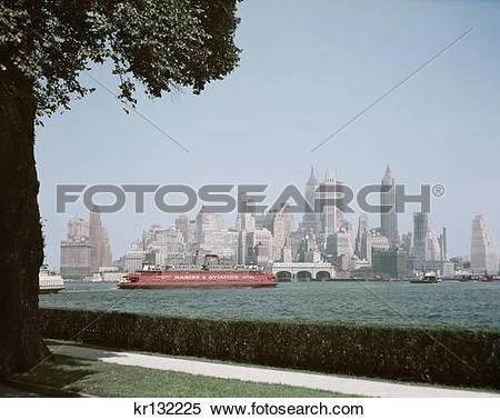 Stock Image of 1950S Skyline Of Downtown Manhattan Taken From.
