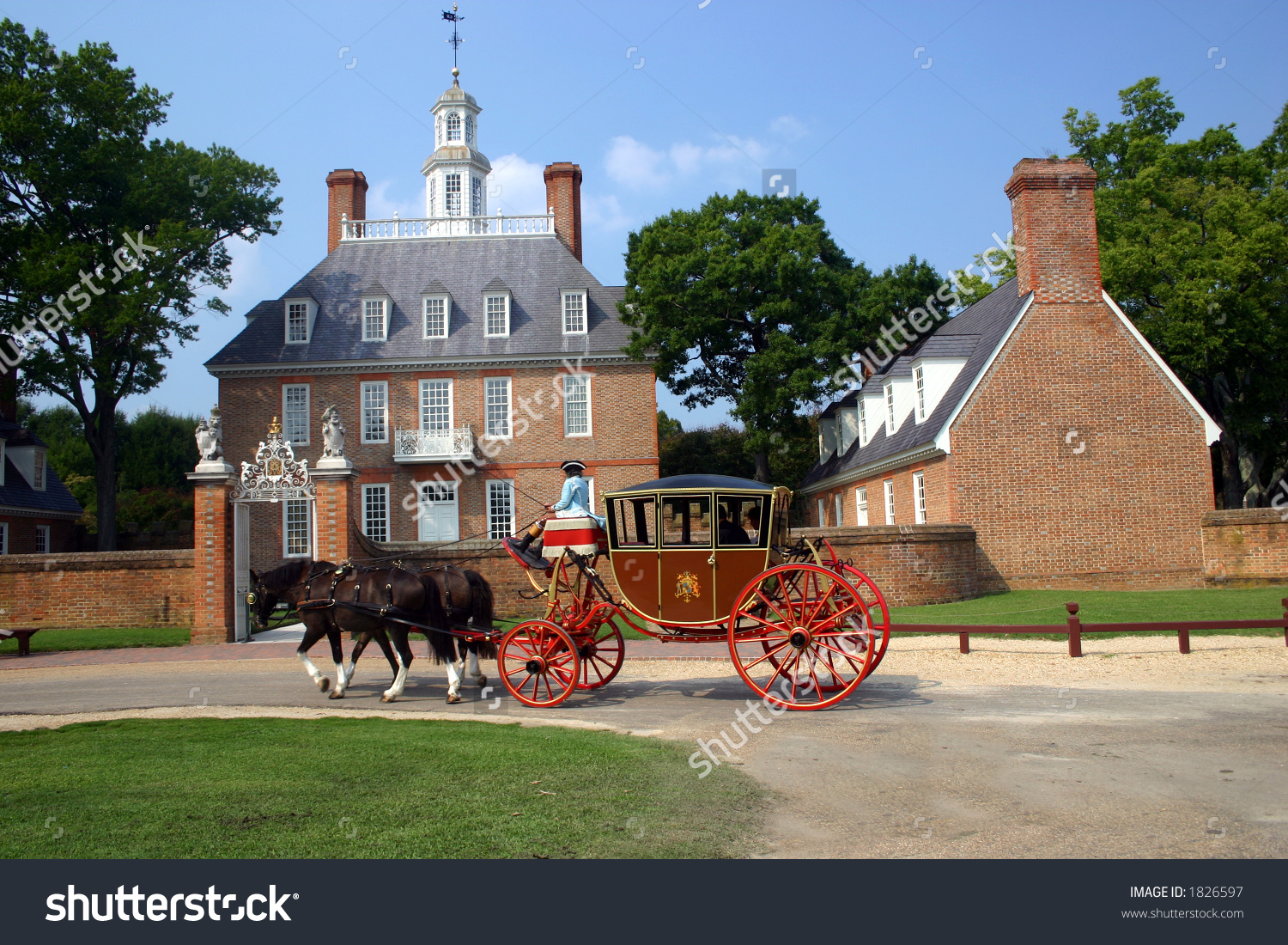 Governors Mansion Colonial Williamsburg Carriage Stock Photo.