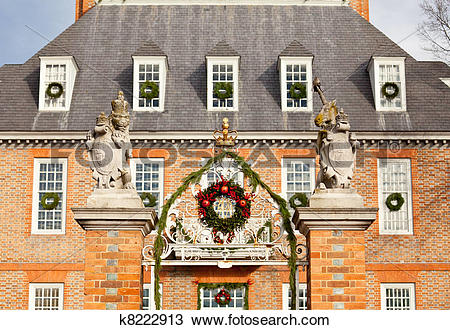 Stock Photo of Entrance to Governors palace in Williamsburg.