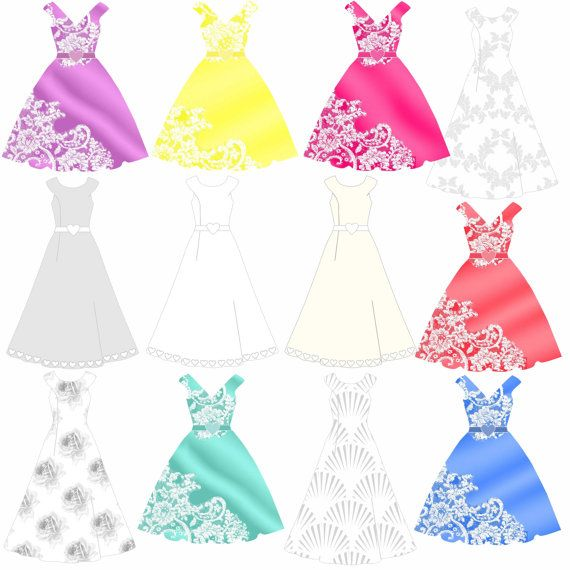 Wedding clipart wedding dresses and bridesmaid gowns by.