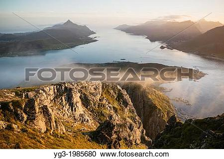 Stock Photography of View over Nappstraumen from summit of.