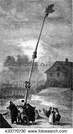 Stock Illustrations of Greasy pole, painting by Goya, the palace.