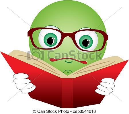 Vektor av läsa, bok, Illustration, vektor, grön, röd, smiley.