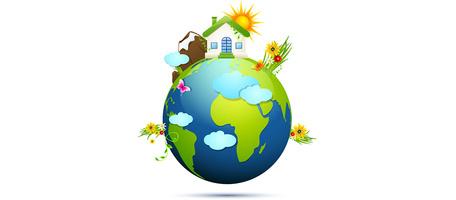 Grüne Erde Ökologiekonzept, vector.