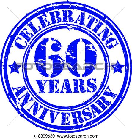 Clipart of Celebrating 60 years anniversary gr k18399530.