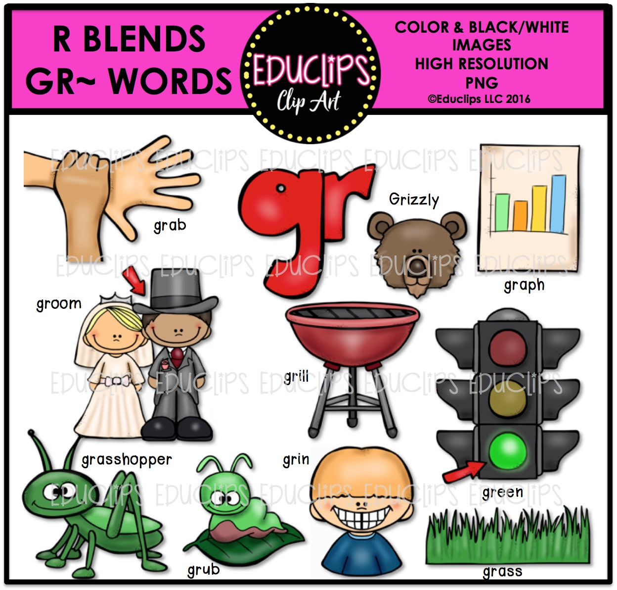 R Blends GR Words Clip Art Bundle (Color and B&W).
