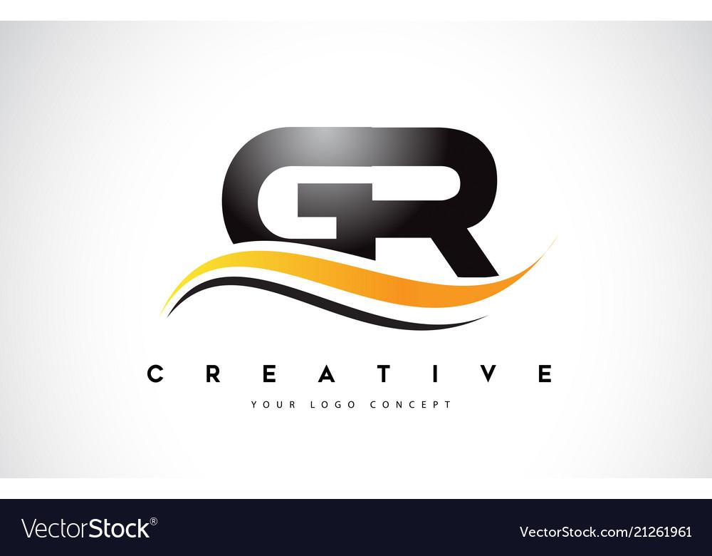 Gr g r swoosh letter logo design with modern.