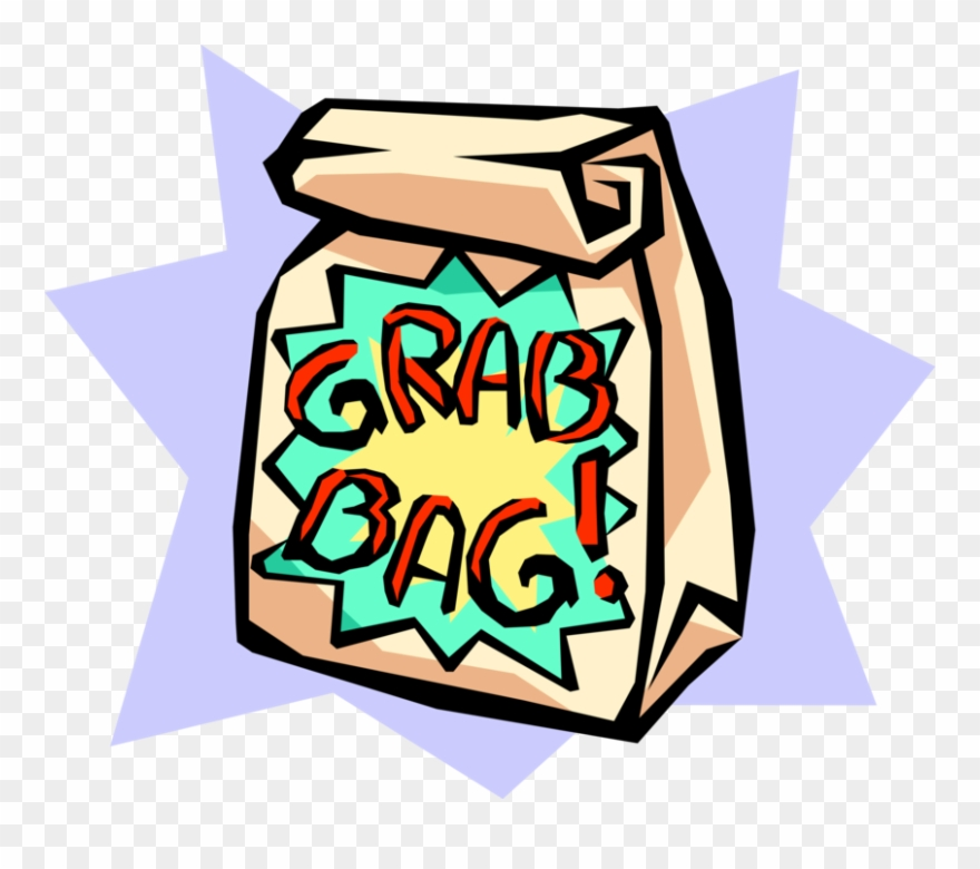 Vector Illustration Of Surprise Grab Bag Paper Sack.