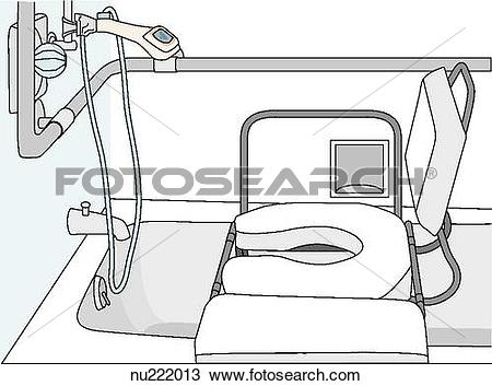 Drawing of Shower in a health care facility outfitted for safety.