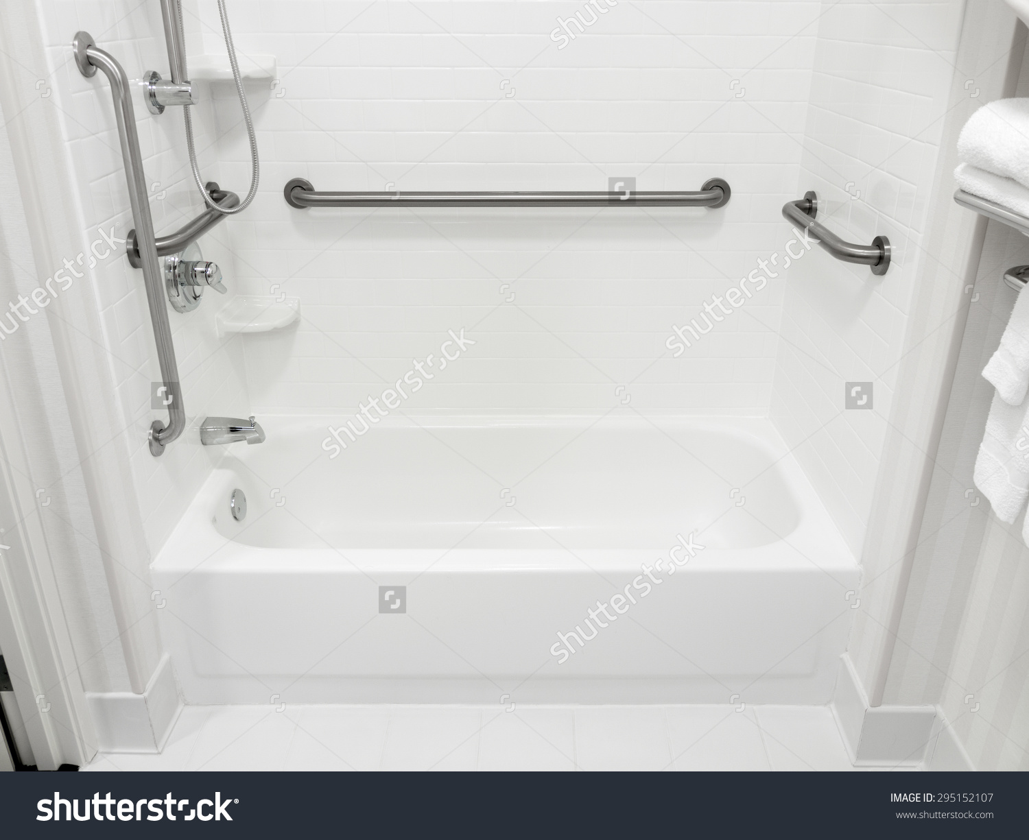 Handicapped Disabled Access Bathroom Bathtub Grab Stock Photo.