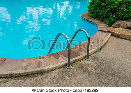 Pictures of Grab bars ladder in blue swimming pool.
