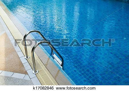 Stock Images of Grab bars ladder in swimming pool k17082846.