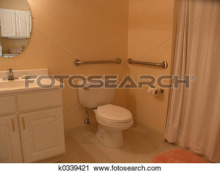 Stock Photography of Bathroom with grab bars k0339421.