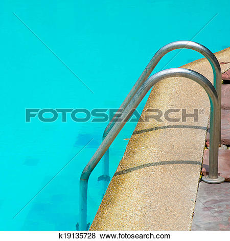 Pictures of Grab bars ladder in the blue swimming pool k19135728.