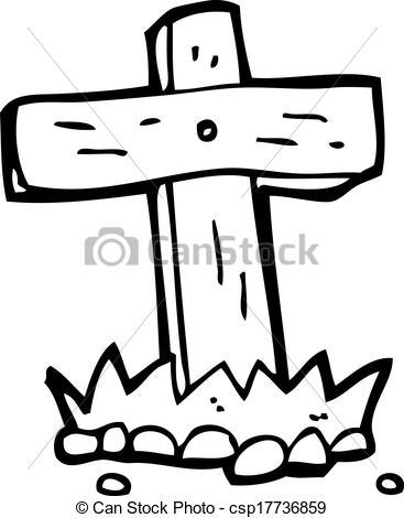 Clipart Vector of cartoon wooden cross grave csp17736859.