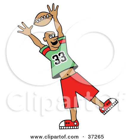 Clipart Illustration of a Football Player Reaching Up To Grab The.