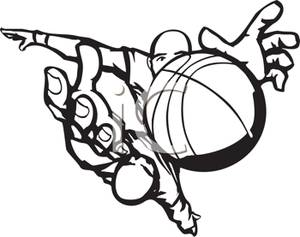 A Black and White Cartoon of a Basketball Player Grabbing.
