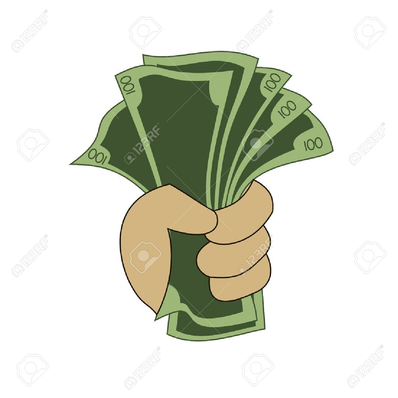 Hand Holding A Stack Of Money Royalty Free Cliparts, Vectors, And.