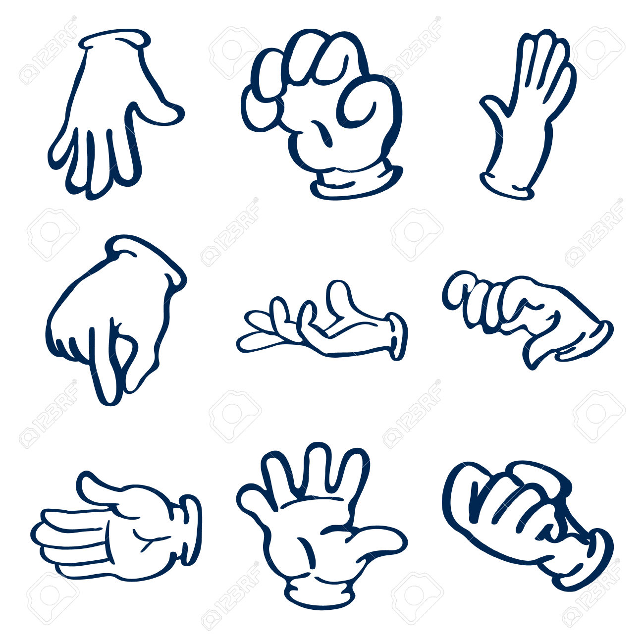 Cartoon Gloved Hands. Vector Clip Art Illustration Royalty Free.