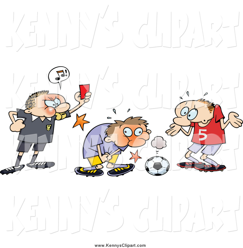 Clip Art of a Mad Caucasian Ref Holding up a Card While a Toon Guy.