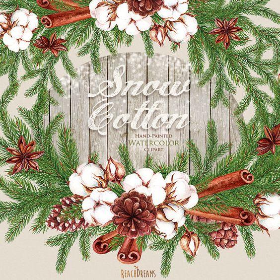 Christmas Watercolor Сotton Wreath, Bouquets. Christmas.