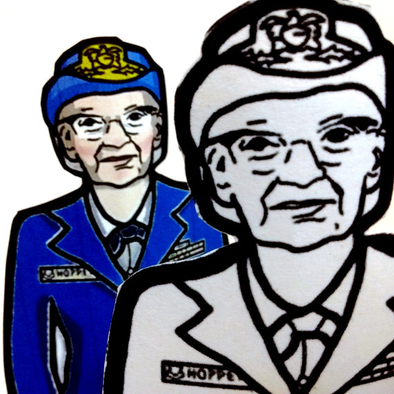 Grace Hopper Printable Coloring Page Paper Doll with stand by.