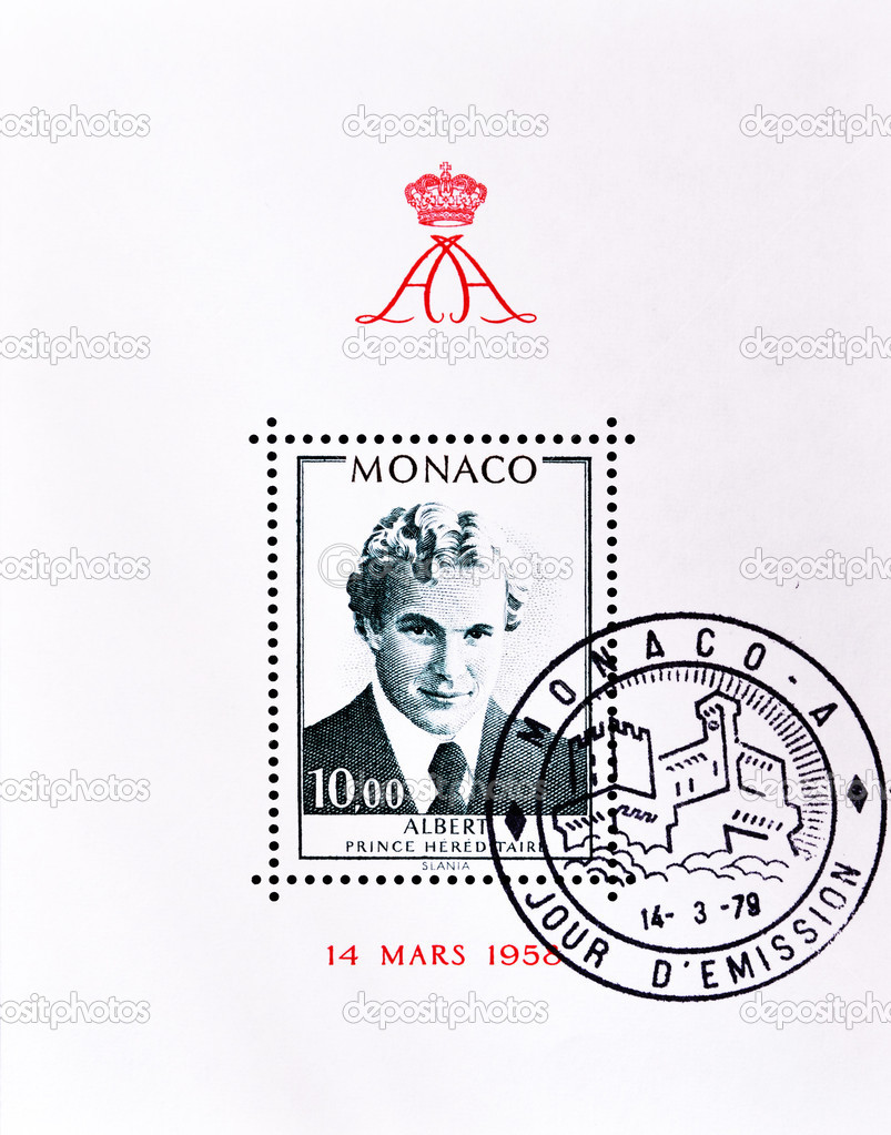 Stamp shows Prince Albert of Monaco son of Rainier and Grace Kelly.