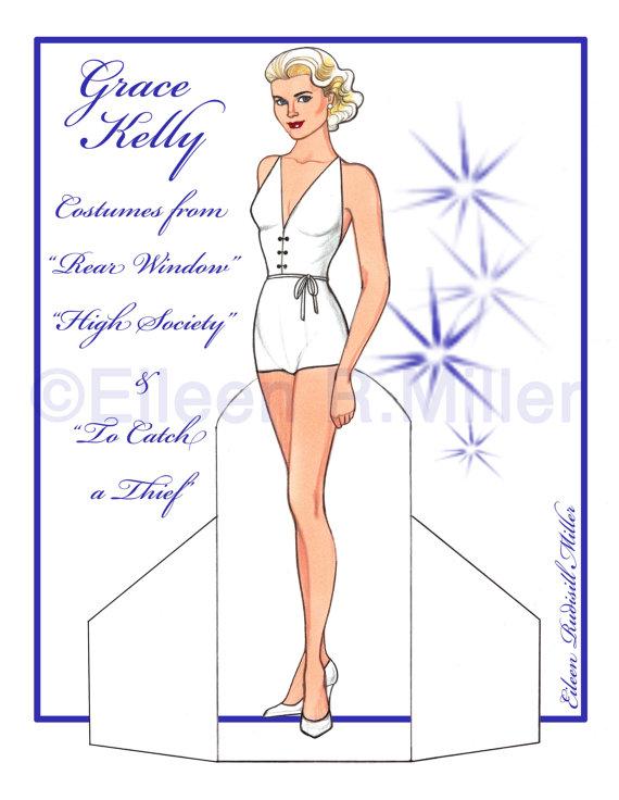 Grace Kelly Paper Doll by PaperDollsbyERMiller on Etsy.