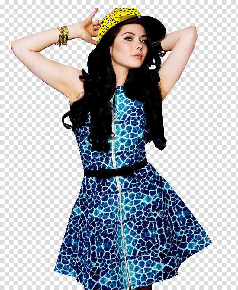 Grace Phipps, woman in blue and white dress posing.
