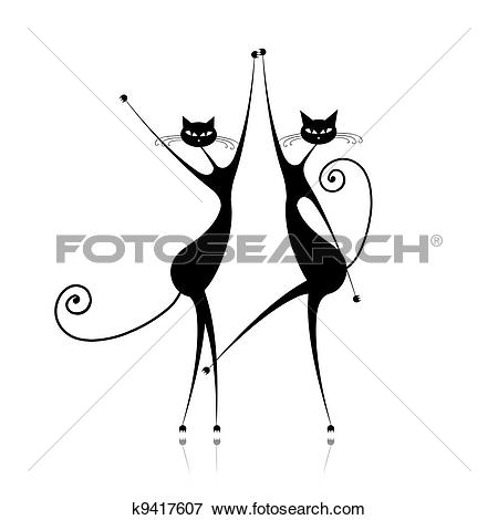 Clip Art of Graceful cats dancing, vector illustration for your.