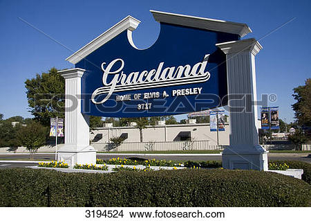 Stock Photo of Sign in front of the Graceland estate, Memphis.