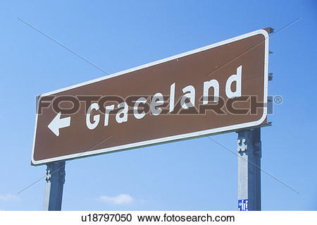 Stock Photography of Directional sign to Graceland, home of Elvis.