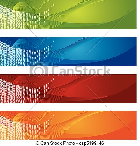 Clip Art Vector of Halftone and gradient banners. This is a vector.