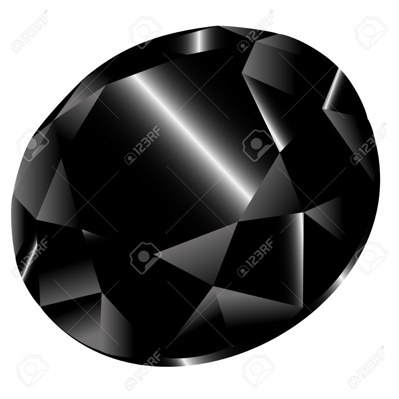 Vector Black Diamond On White Background. Clip.