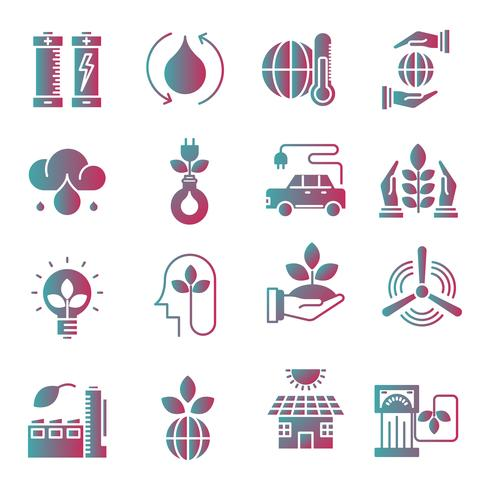 Ecology gradient icons set.