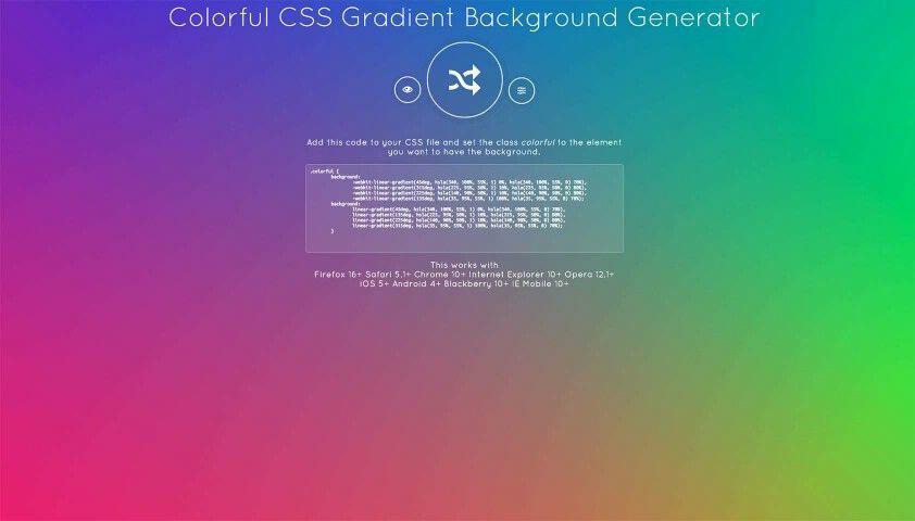 CSS Gradient Background Generator.