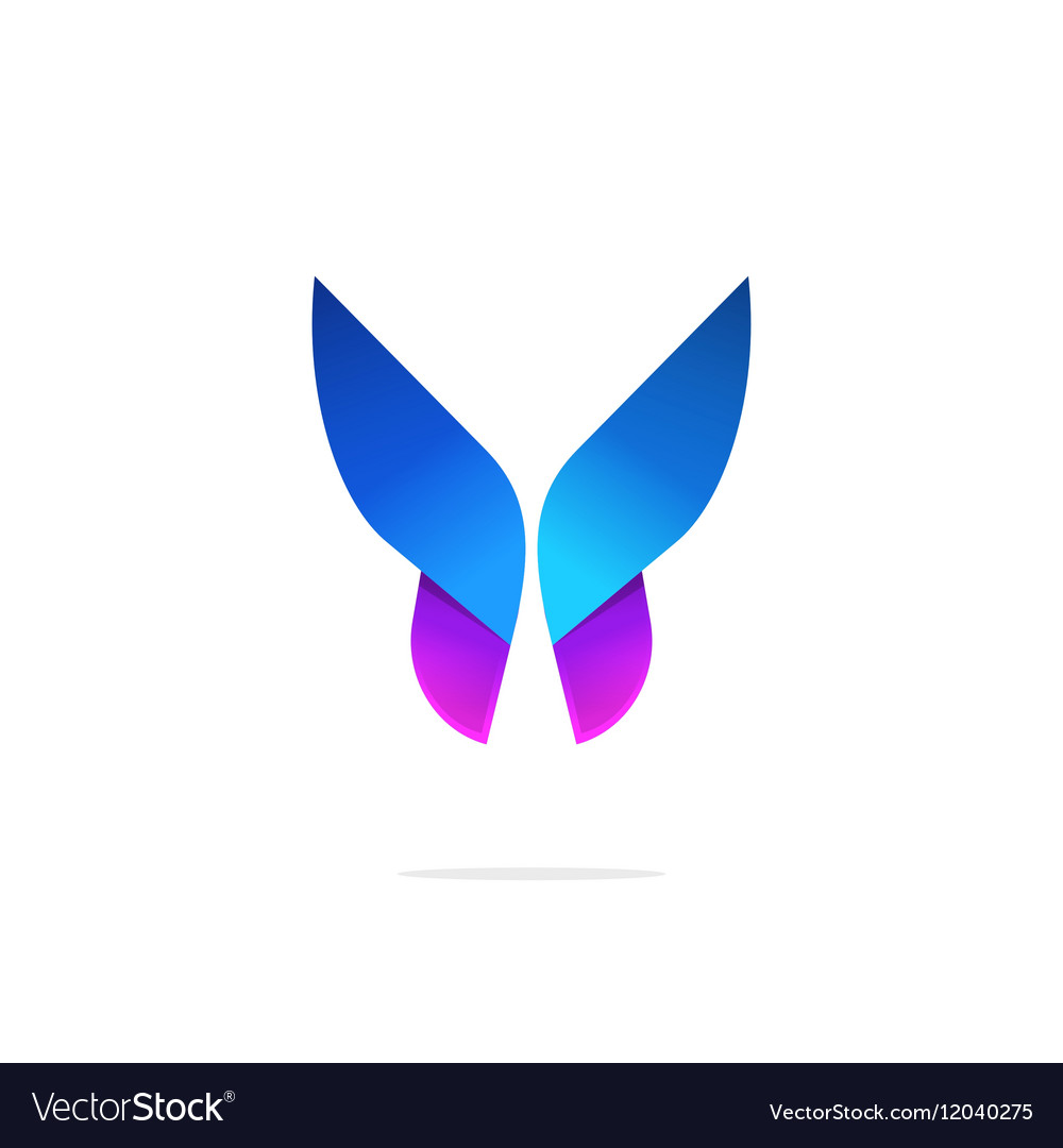 Butterfly colorful logo template with gradient on.