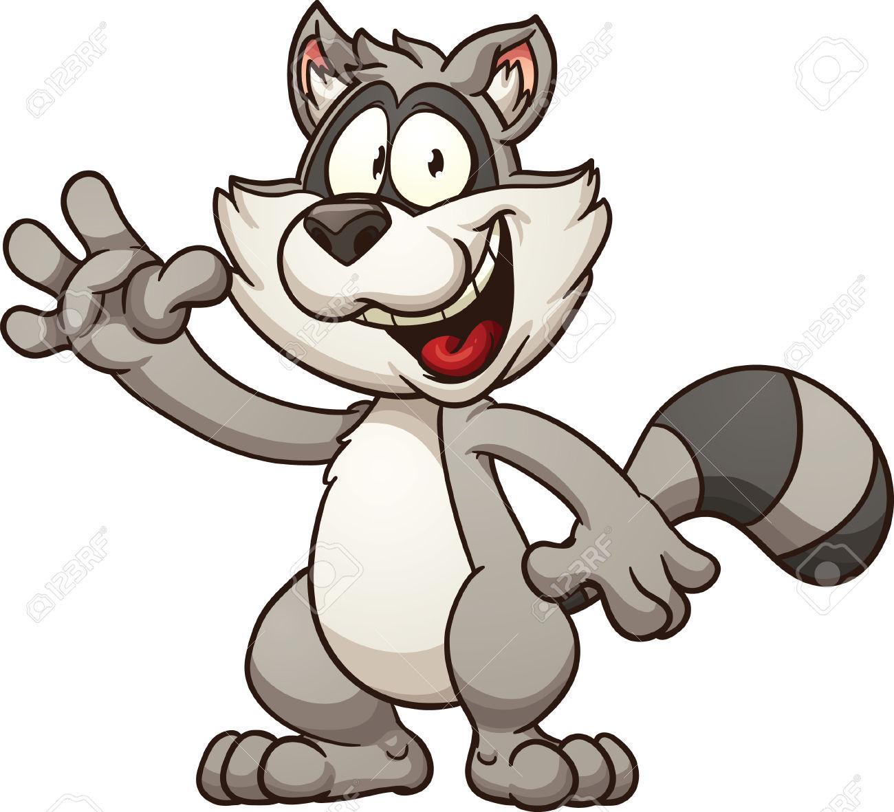 Cartoon Raccoon. Vector Clip Art Illustration With Simple.