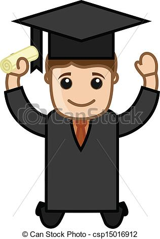 Vector Clip Art of Happy Graduate Boy.