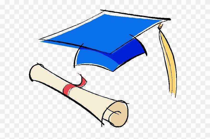 Blue Graduation Cap And Diploma.